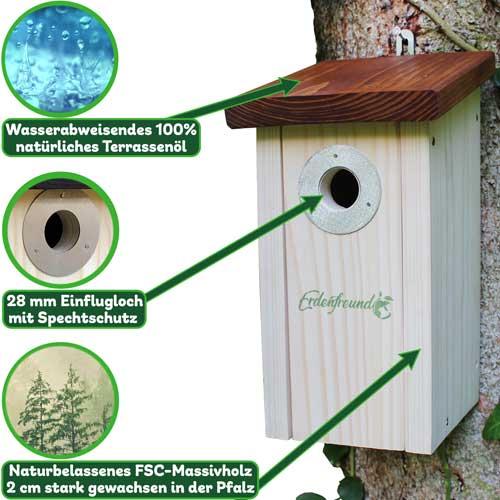 Vogelhaus Holz für Meisen